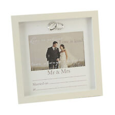 WEDDING PHOTO PICTURE FRAME WITH PRINTED DATA ANNIVERSARY RINGS HOME STAND GIFT