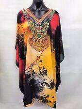 Sheer Chiffon Poly Embellished Kaftan  Digital Printed Size 14-16-18-20-22-24