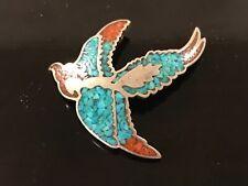 ANTIQUE MCM SILVER TURQUOISE & CORAL INLAY HAWK QUETZAL BIRD IN FLIGHT PENDANT