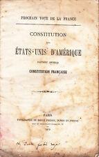1870. LA COMMUNE DE PARIS PROJET DE CONSTITUTION FRANCAISE A L IMAGE DES USA