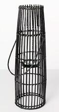 "Iron And Rattan Pillar Candle Holder Lantern Black 24"" x 7.7"""