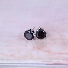 beautiful black  Austrian crystal stud earrings 8mm, silver plated