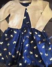 Gymboree holiday dress sweater combo Scotty  dog Size 5 girls blue gold $80 sale
