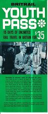 Britail Youth Pass 15 Days of Unlimited Rail Travel for $35 Vintage Flyer