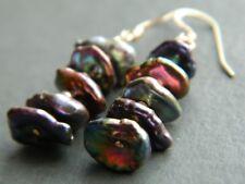 Peacock KESHI Petal Freshwater Pearls (A Grade beads) & 14K Rolled Gold Earrings