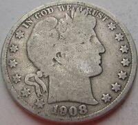 1908-S VG- (Good+) Barber Silver Half Dollar in a SAFLIP®