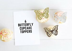 Butterfly Cupcake Toppers 6 Glitter Card Cake Toppers Party Food Decorations