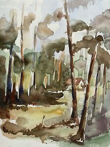 Prof Dr A Behle 1935-97 Sunny Tag IN Forest Hut Light Autumn Trees Expressive