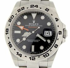 Rolex Explorer II Mens Stainless Steel Watch 42mm Orange Hand Black Dial 216570