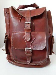 Echt Leder Rucksack True Vintage Backpack Patina cognac braun Rindsleder unisex