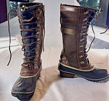 New Sorel Conquest™ Carly II Duck Knee High Lace Up Brown Boot Women's Size 8