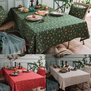 Christmas Party Tablecloth Cotton Linen Table Cloth Cover Rectangular Home Decor