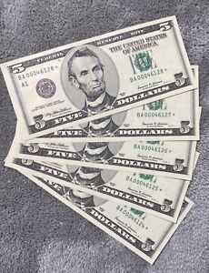 $ 5 Dollar Star Notes,,,Sequential Serial Numbers,,Gem Uncirculated 5 Notes 1999