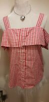 BNWT WAREHOUSE LADIES GINGHAM RED & WHITE OFF SHOULDER BLOUSE TOP UK SIZE 10