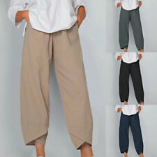 Women Linen Cotton Harem Pants Soft Loose Cropped Trousers Baggy Drawstring New