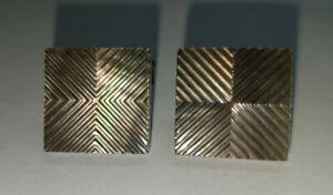 Rare Hugo Boss Square Black Agate Geometric Engraved Cufflinks Cuff Links