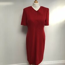 VINTAGE JAEGER 100% Wool Dress Size  UK 12 Red Short Sleeve Lined Classic Formal