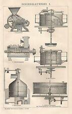 B0073 Attrezzatura per birrificio - Xilografia d'epoca - 1901 Vintage engraving