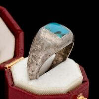 Antique Vintage 925 Sterling Silver Native Zuni Turquoise Inlay Ring Sz 7.5 9.5g