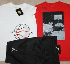 New! Boys Nike 3 pc Lot/Outfit (2 Shirts, Air Jordan Shorts; Basketball) Small 8