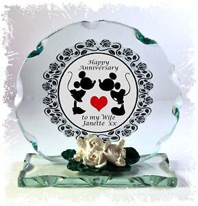 Disney Mickey & Minnie , Anniversary, Cut Glass Round Plaque, Ltd  Edition  #1