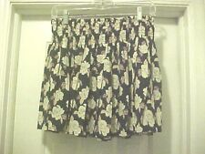 Navy Blue Floral Mini Skirt Women's Size M By I Love H81 Pleated Elastic Waist