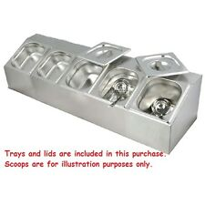 COMMERCIAL STAINLESS STEEL BAIN MARIE BENCH TOP GN TRAY CONDIMENT HOLDER 5X1/6
