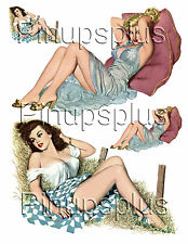 Retro WWII Pin-up Girl Bomber Art Waterslide Decal stickers 2 large 2 small #5