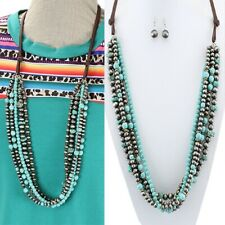 Western Silver-Tone Faux Pearl Navajo Style Layered Beaded Necklace Set