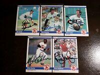 1984 Fleer Red Sox x5 Auto Lot Autograph Signed Cards Easler Jurak Tudor Stanley