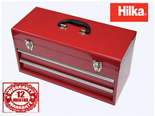 HILKA Tool Chest New Red Metal 2 Drawer Garage Parts Tools Storage Steel Box