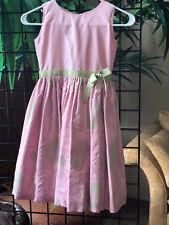 Size 6/7 Joan Calebrese Child's Pink/green jacuard dress/green ribbon sash