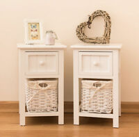 2 x Shabby Chic White Bedside Units Tables Drawers + Wicker Storage Basket