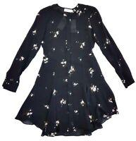 ALC Black Silk Floral Print Long Sleeve Button Up Dress Size 0 Womens