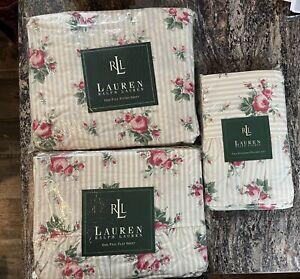 VTG Ralph Lauren Marseilles Stripe Beige Rose Floral Full Sheet Set