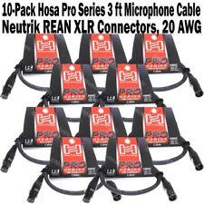 10-Pack Hosa Pro Series 3 ft XLR Microphone Cable Neutrik REAN Connectors HMIC03