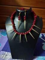 Indian Ethnic Traditional Red Beads Afghani Silver Choker Necklace Oxidized