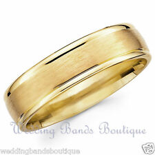18K Yellow Gold Classic Wedding Band Satin Finish Mens Mans Comfort Fit Ring 6mm