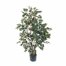 Decorative Natural Looking Artificial Rustic 4' Potted Ficus Silk Tree Plants