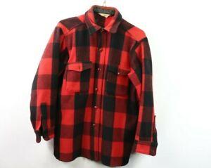 Vtg 50s Woolrich Mens Medium Rockabilly Buffalo Plaid Full Button Shirt Jacket