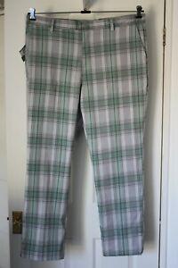 "SLAZENGER ~ Grey & Green Check Teflon Golf Trousers ~ 40"" W ~ 31"" L ~ NWT"