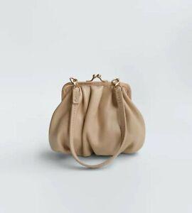 new ZARA Real Leather mini purse bag,little clutch,cream beige,detachable handle