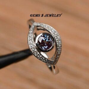 round cut alexandrite ring wedding ring solid sterling silver GEMSTONE UNIQ RING