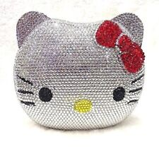 Silver KITTY CAT Luxury Handmade JEWELED CRYSTAL Evening Bag Clutch Bag