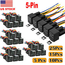 5-25PCS 12V 40 amp Car Auto 5 pin & wire Relay Waterproof Plug Socket Heavy Duty
