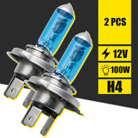 H4 100w 8500k Xenon Hid Super White Effect Look Headlight Lamps Light Bulbs 12v