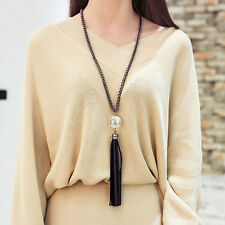Charm Women Pearl Beads Black Leather Tassel Pendant Long Chain Sweater Necklace