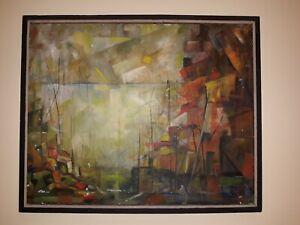 Abstract oil on canvas original painting mid century modern art mcm ship harbor