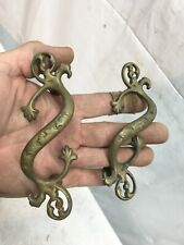 Antique  pair of fabulous Cast Brass  drawer pulls