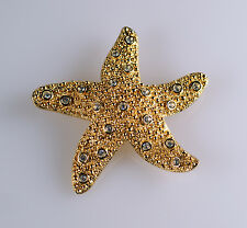 Swarovski Swan Signed Textured Gold Tone Crystal Starfish Pin Brooch